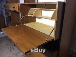 Vintage Retro Wall Unit Mid Century Drawers Bookcase Cupboard Black Handles