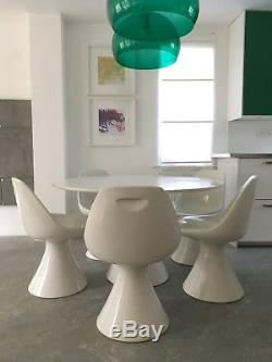 Vintage Retro White Dining Table with five chairs 1960-1970s Genuine Arkana