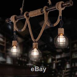 Vintage Rustic Hemp Rope Pendant Lights E27 Ceiling Light Hanging Lamp Retro