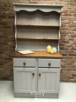 Vintage Solid Pine Wood Shabby Chic Kitchen Dresser