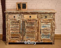 Vintage Style Painted 3 Door 3 Drawer Cabinet Solid Wood Furniture Sideboard -4