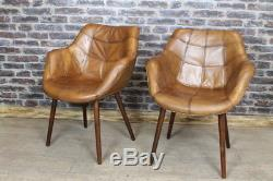 Vintage Style Tan Leather Bucket Armchair Kitchen Dining Chair The Chepstow