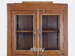 Vintage Teak Wood Rustic Kitchen Display Cabinet Cupboard (REF575)