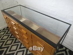Vintage Wood and Glass Haberdashery Shop Counter or Display Cabinet with Drawers