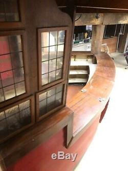 Vintage curved pub bar mahogany wood counter internal shelf man cave 3m length