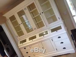 Vintage freestanding kitchen dresser, extra large, glass fronted