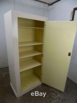 Vintage, light, 1930's, painted, large, cupboard, shelves, cabinet, linen press, wardrobe