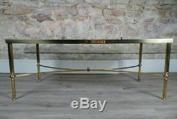 Vintage mid century Maison Jansen style brass & glass coffee table 1960/70s
