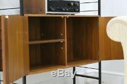 Vintage wall shelving Retro teak shop display cabinet mid century G plan Danish