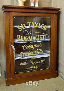 Vintage wooden cabinet, hand painted sign written glass doors, kitchen bathroom