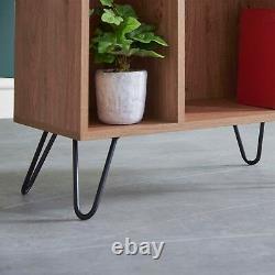 VonHaus Capri Split Shelf Unit Oak Effect Book Case 9 Tier Shelves Retro Style