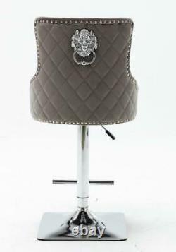 WINCHESTER Velvet Swivel Bar Stool Button Back Kitchen/Dining/Breakfast Chair