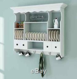 Wall Kitchen Dresser White Wooden Hanging Plates Rustic Rack Shelf Vintage Home