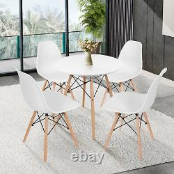 White Round Dining Table and 2/4 Chairs Set Wood Legs Metal Frame Kitchen Desk