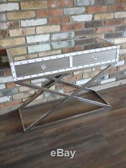 White Silver Mirrored Sideboard Storage Cupboard 2 Drawer Side Cabinet Console