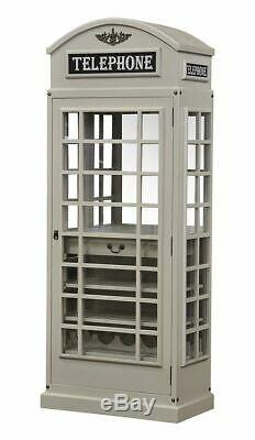 White Star Drinks Cabinet Iconic BT Telephone Box Style Bar in Stone Grey