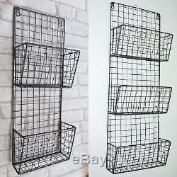 Wire Storage Rack Retro Vintage Industrial Wall Unit Mesh Shelf Baskets Cabinet