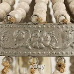 Wood Bead Chandelier Pendant Ceiling Lamp Gray White Finishing Vintage Rustic