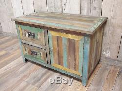 Wooden Cabinet Rustic 2 Drawer 1 Door Storage Cupboard Organiser Furniture Unit