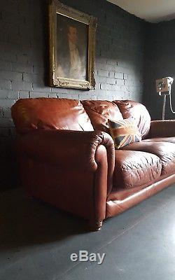 125 Chesterfield Cuir Vintage Et En Détresse Canapé 3 Places Beige Marron Courier Av