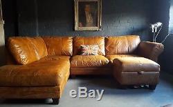 126 Chesterfield Vintage 3 Places Cuir Marron Marron Suite D'angle Courier Av