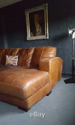 132 Chesterfield Vintage 4 Places Cuir Marron Club Marron Suite D'angle Courier Av