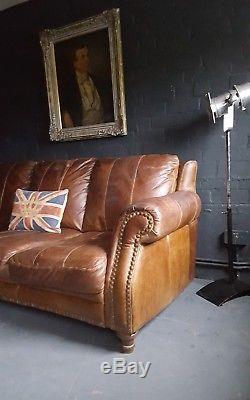 134 Chesterfield Vintage 3 Places Cuir Club Marron Courier Av