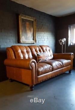 155 Chesterfield Cuir Vintage Et En Détresse Canapé 3 Places Beige Marron Courier Av