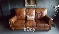 168 Chesterfield Cuir Vintage Et En Détresse Canapé 3 Places Beige Marron Courier Av