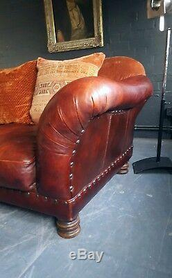 16. Superbe Canapé 3 Places Tetrad Grande Vintage Chesterfield Courier Disponible