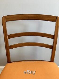 1960 MID Century G Plan Leg Drop Table Et 4 E Chaises Salle À Manger Gomme Orange Velours