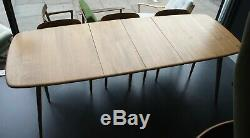 1970 Vintage Elm Et Beechwood Ercol Grande Planche Table À Manger Extensible