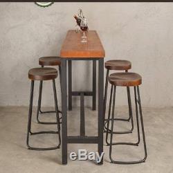 1/2 / 4x Tabourets De Bar Industriels Vintage Chaise Haute Comptoir De Cuisine Siège En Bois Nouveau
