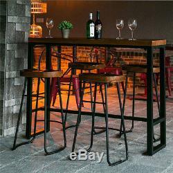 1/2 / 4x Tabourets De Bar Industriels Vintage Chaise Siège De Pub En Bois Rétro Comptoir De Cuisine