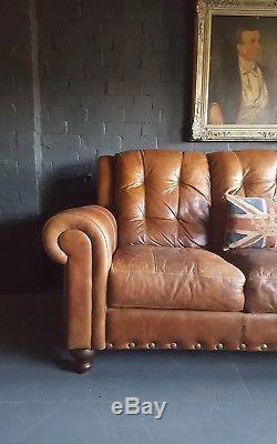 202 Chesterfield Cuir Vintage Et En Détresse Canapé 3 Places Beige Marron Courier Av