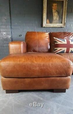 2044. Chesterfield Vintage Suite Corner Corner Club 3 Places En Cuir Couleur Tan