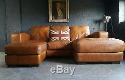 2046. Chesterfield Vintage Suite Corner Corner Club 3 Places En Cuir Couleur Tan