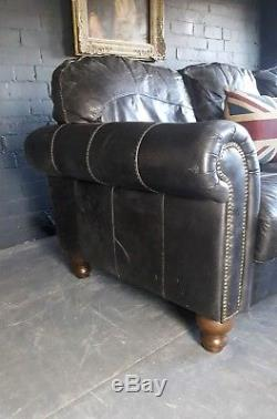 2075 Chesterfield Vintage Club Canapé 3 Places En Cuir Et Chaise Assortie Gris Vert