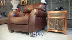 2952 Chesterfield Cuir Vintage Un Fauteuil Courier Av Marron Matching Av