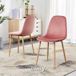 2 4 6 Chaises À Manger En Velours Retro Accent Diamond Wooden Legs Living Room