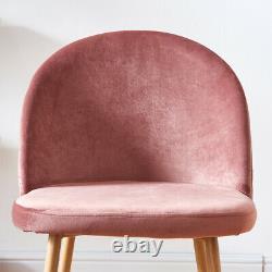 2/4/6 Chaises À Manger Pink Velvet Avec Chaise Longue Backrest Metal Leg Room