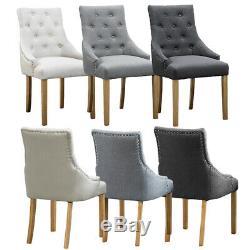 2/4/6 Moderne Chaise Tissu Rembourré Fauteuil Salle À Manger Cuisine Clouté Bn