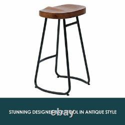 2/4x Tabourets De Bar Industriels Vintage Haute Chaise Comptoir De Cuisine Siège En Bois Dr