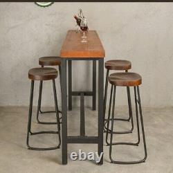 2/4x Tabourets Vintage De Bar Industriel Haut De Chaise Comptoir De Cuisine Siège En Bois Kr