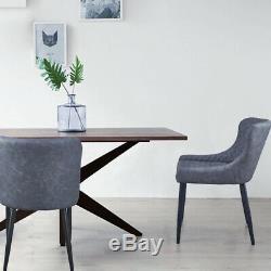 2 Chaises De Salle À Manger Grises Cuisine De Luxe En Similicuir À Siège Souple En Cuir Synthétique