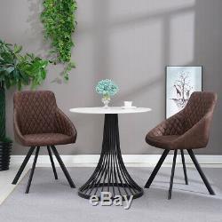 2 × Fauteuils De Luxe En Similicuir Avec Chaises En Métal Noir, Chaises De Salle À Manger Brunes Rétro