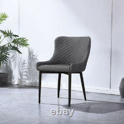 2 Faux Cuir/pu Chaises À Manger Grey Brown Chaises De Bureau Rembourrées Cuisine