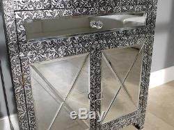 2 Portes 1 Tiroir Miroir Armoire De Rangement Vintage Argent Poitrine Armoire En Relief