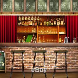 2 X Vintage Tabouret De Bar En Métal En Bois Rétro Siège Rétro Cuisine Pub Counter