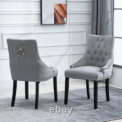 2pcs Velvet Knocker Dining Chairs Accent Button Tufted Topholstered Studded Chair